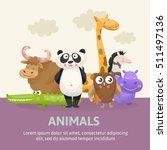 poster with zoo animals vector | Shutterstock .eps vector #511497136