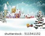 village winter landscape with... | Shutterstock .eps vector #511541152