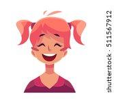 teen girl face  laughing facial ... | Shutterstock .eps vector #511567912
