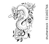 dragon and flowers tattoo | Shutterstock .eps vector #511602766