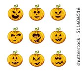 set of variants carved pumpkin... | Shutterstock . vector #511606516