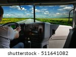 the truck driver on the road... | Shutterstock . vector #511641082