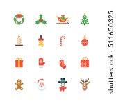 set of flat christmas icons...