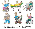 set of handicapped and patients ... | Shutterstock .eps vector #511663762