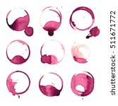 wine stain spots watercolor... | Shutterstock .eps vector #511671772