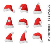 just red christmas santa hat at ... | Shutterstock .eps vector #511693102