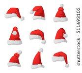 just red christmas santa hat at ... | Shutterstock .eps vector #511693102