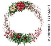 wreath with watercolor tree... | Shutterstock . vector #511732345