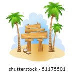 palm trees and wooden sign | Shutterstock .eps vector #51175501
