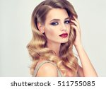 beautiful girl with long wavy... | Shutterstock . vector #511755085