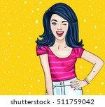 pop art winking woman  ... | Shutterstock .eps vector #511759042