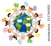 multicultural group of babies... | Shutterstock .eps vector #511769302
