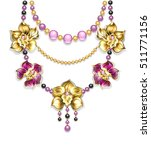 necklace of pink  gold  black...   Shutterstock .eps vector #511771156