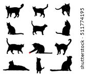 Stock vector vector silhouettes of house cats 511774195