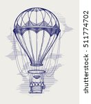 hot air balloon ball pen sketch ... | Shutterstock .eps vector #511774702
