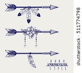 boho style arrows with feathers ... | Shutterstock .eps vector #511774798