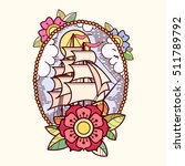 sea ship with flowers  clouds... | Shutterstock .eps vector #511789792