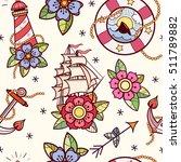old school tattoos seamless... | Shutterstock .eps vector #511789882