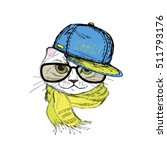 funny fashion cat in a cap... | Shutterstock .eps vector #511793176