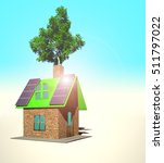 house with solar panels  3d... | Shutterstock . vector #511797022