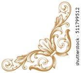 gold vintage baroque corner... | Shutterstock .eps vector #511799512