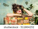 woman traveler embraces a... | Shutterstock . vector #511804252