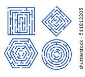 labyrinth set different shapes... | Shutterstock .eps vector #511812205