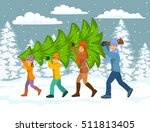 family carries christmas tree... | Shutterstock .eps vector #511813405