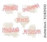 arkansas  oklahoma  texas ... | Shutterstock . vector #511829242