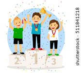 children young winner podium....   Shutterstock .eps vector #511841218