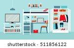 Stock vector vector illustration of a dormitory 511856122
