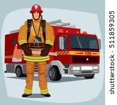 firefighter  man from fire...   Shutterstock .eps vector #511859305