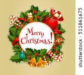 merry christmas round poster ... | Shutterstock .eps vector #511861675