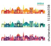 india skyline. vector... | Shutterstock .eps vector #511866538