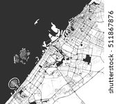 dubai monochrome map artprint ... | Shutterstock .eps vector #511867876