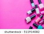 lot of bottles nail polish on... | Shutterstock . vector #511914082