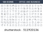 Set vector line icons in flat design office and business with elements for mobile concepts and web apps. Collection modern infographic logo and pictogram. | Shutterstock vector #511920136