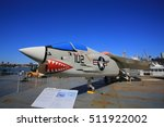 Small photo of NEW YORK;OCT13: fighter jet F-8K Crusader display in intrepid sea air space museum in New York on 13 October 2016. Interpid Sea AIr Space Museum showcases the aircraft carrier the former USS Intrepid