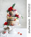 wedding cake with flowers  figs ... | Shutterstock . vector #511931212