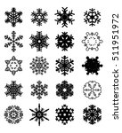 set of black snowflakes on a... | Shutterstock .eps vector #511951972