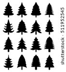 set of black  christmas trees ...   Shutterstock .eps vector #511952545