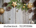 golden decoration on old wooden ... | Shutterstock . vector #511955086