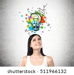 smiling woman in white tank top ... | Shutterstock . vector #511966132