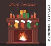 christmas fireplace | Shutterstock .eps vector #511971826