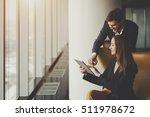 two smiling elegant business... | Shutterstock . vector #511978672