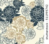 peonies seamless pattern. peony ... | Shutterstock .eps vector #511995742