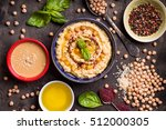 hummus ingredients. chickpea ... | Shutterstock . vector #512000305