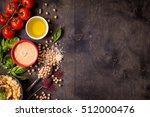 hummus ingredients. chickpea ... | Shutterstock . vector #512000476