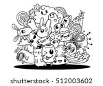hipster hand drawn crazy doodle ... | Shutterstock .eps vector #512003602