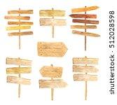 hand painted watercolor wooden... | Shutterstock . vector #512028598